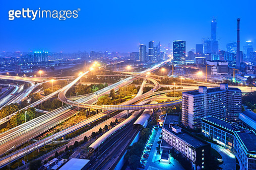 Multilevel Viaduct Busy Traffic at Night, Beijing, China - gettyimageskorea