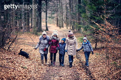 Family enjoying walk in late autumn forest. - gettyimageskorea