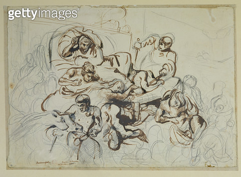 <b>Title</b> : Study for the Death of Sardanapalus, 1864 (pen & ink and graphite on paper)<br><b>Medium</b> : pen and ink and graphite on paper<br><b>Location</b> : Musee Bonnat, Bayonne, France<br> - gettyimageskorea