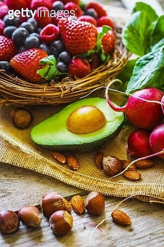 An arrangement of berries, vegetables and nuts - gettyimageskorea
