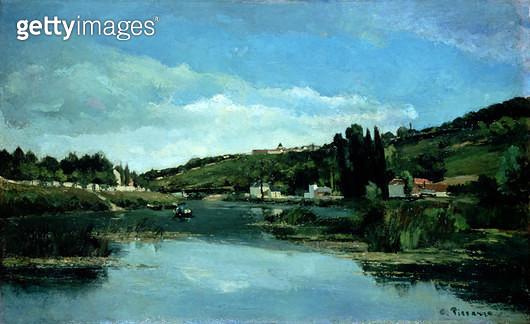 <b>Title</b> : The Marne at Chennevieres, c.1864-65<br><b>Medium</b> : oil on canvas<br><b>Location</b> : National Gallery of Scotland, Edinburgh, Scotland<br> - gettyimageskorea