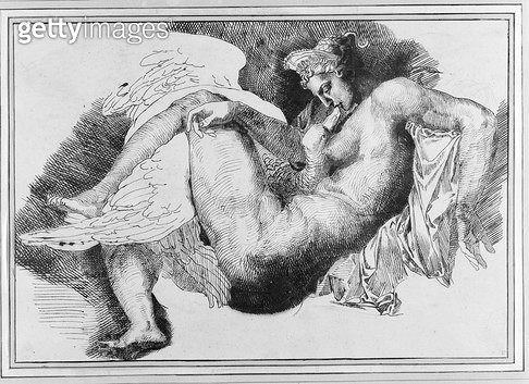 <b>Title</b> : Leda, after a drawing by Michelangelo Buonarroti (1475-1564) 1822 (pen & ink on paper)<br><b>Medium</b> : pen and ink on paper<br><b>Location</b> : Musee des Beaux-Arts, Orleans, France<br> - gettyimageskorea