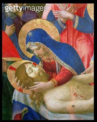 <b>Title</b> : Lamentation over the Dead Christ, 1436-41 (tempera on panel) (detail)<br><b>Medium</b> : <br><b>Location</b> : Museo di San Marco dell'Angelico, Florence, Italy<br> - gettyimageskorea