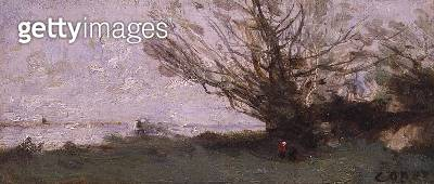 Winter Landscape Beside a Lake (panel) - gettyimageskorea