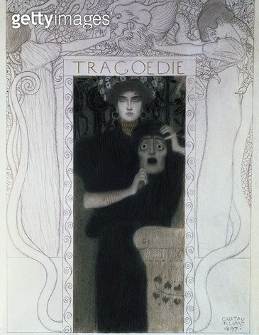 <b>Title</b> : Tragedy, 1897 (drawing)<br><b>Medium</b> : black chalk and pencil heightened with gold and white<br><b>Location</b> : Historisches Museum der Stadt, Vienna, Austria<br> - gettyimageskorea