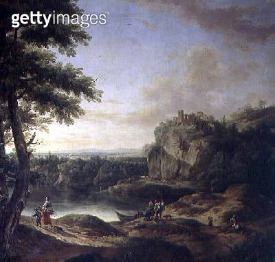 <b>Title</b> : Landscape scene, (detail of the decorative scheme of the Large Rosa Room)<br><b>Medium</b> : <br><b>Location</b> : Schloss Schonbrunn, Vienna, Austria<br> - gettyimageskorea