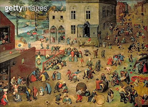 <b>Title</b> : Children's Games (Kinderspiele), 1560 (oil on panel)<br><b>Medium</b> : oil on panel<br><b>Location</b> : Kunsthistorisches Museum, Vienna, Austria<br> - gettyimageskorea