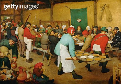 <b>Title</b> : Peasant Wedding (Bauernhochzeit), 1568 (panel)<br><b>Medium</b> : oil on panel<br><b>Location</b> : Kunsthistorisches Museum, Vienna, Austria<br> - gettyimageskorea