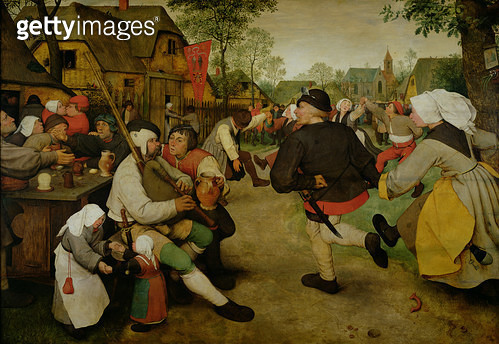 <b>Title</b> : Peasant Dance, (Bauerntanz) 1568 (oil on panel) (see 186442-186443 for details)<br><b>Medium</b> : oil on panel<br><b>Location</b> : Kunsthistorisches Museum, Vienna, Austria<br> - gettyimageskorea