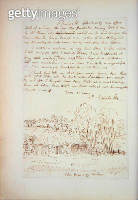 <b>Title</b> : Autograph letter from John Constable to John Thomas Smith, from 'Memoirs of the Life of John Constable', by Charles Robert Lesli<br><b>Medium</b> : lithograph<br><b>Location</b> : Yale Center for British Art, Paul Mellon Collection, USA<br> - gettyimageskorea