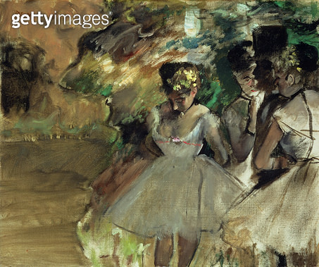 <b>Title</b> : Three Dancers in the Wings, c.1880-85<br><b>Medium</b> : oil on canvas<br><b>Location</b> : Private Collection<br> - gettyimageskorea