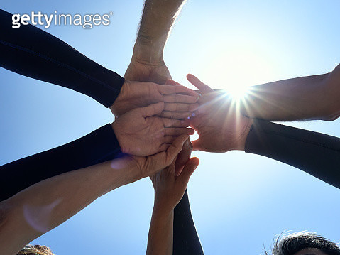Shimoda is Izu Peninsula Geopark. Pile up hands. I can see the sky. - gettyimageskorea