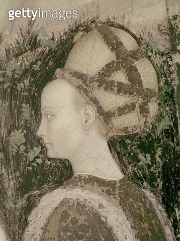 <b>Title</b> : St. George and the Princess of Trebizond, detail of the head of the princess, c.1433-38 (fresco)<br><b>Medium</b> : <br><b>Location</b> : Sant' Anastasia, Verona, Italy<br> - gettyimageskorea