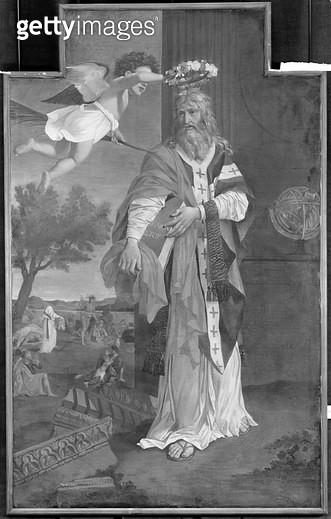 <b>Title</b> : St. Denis Crowned by an Angel (oil on canvas) (b/w photo)Additional InfoSaint Denis Couronne par un Ange;<br><b>Medium</b> : <br><b>Location</b> : Musee des Beaux-Arts, Rouen, France<br> - gettyimageskorea
