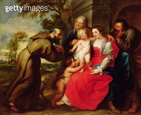 <b>Title</b> : Holy Family with St. Francis, c.1625<br><b>Medium</b> : oil on canvas<br><b>Location</b> : San Diego Museum of Art, USA<br> - gettyimageskorea