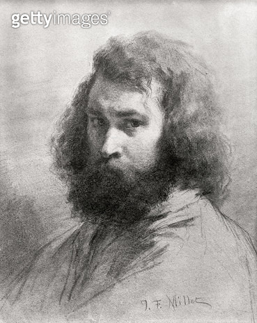 <b>Title</b> : Self Portrait, c.1845-46 (charcoal and pencil on paper) (b/w photo)<br><b>Medium</b> : charcoal and pencil on paper<br><b>Location</b> : Louvre, Paris, France<br> - gettyimageskorea