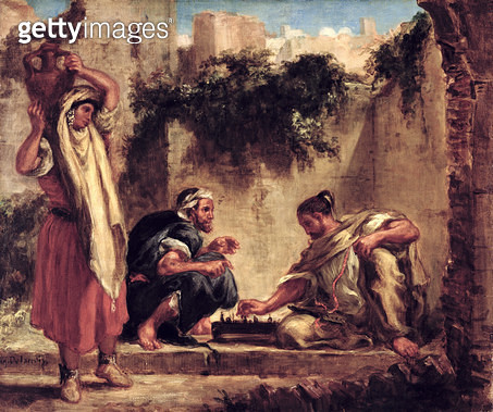 <b>Title</b> : Arabs Playing Chess, 1847-49<br><b>Medium</b> : oil on canvas<br><b>Location</b> : National Gallery of Scotland, Edinburgh, Scotland<br> - gettyimageskorea