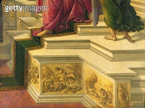 <b>Title</b> : Calumny of Apelles: detail showing part of the podia decorated with simulated sculptural friezes representing classical subjects<br><b>Medium</b> : panel<br><b>Location</b> : Galleria degli Uffizi, Florence, Italy<br> - gettyimageskorea