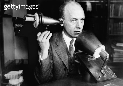 BELL'S TELEPHONE, c1920. /nDemonstration of Alexander Graham Bell's telephone through which speech sounds were first transmitted electrically. Photographed in c1920. - gettyimageskorea