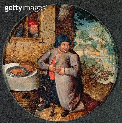 <b>Title</b> : Flemish Proverb: Gluttony (panel)<br><b>Medium</b> : oil on panel<br><b>Location</b> : Galerie de Jonckheere, Paris, France<br> - gettyimageskorea