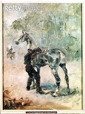 <b>Title</b> : Artilleryman Saddling his Horse, 1879 (oil on canvas)<br><b>Medium</b> : oil on canvas<br><b>Location</b> : Musee Toulouse-Lautrec, Albi, France<br> - gettyimageskorea