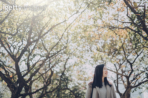 Beautiful Asian girl relaxing and enjoying the natural scenics in park - gettyimageskorea