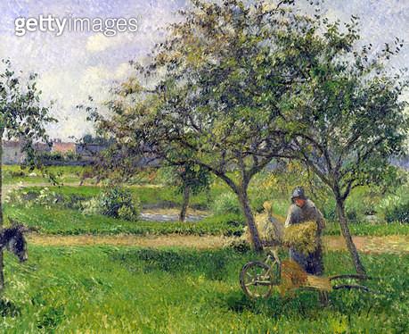<b>Title</b> : The Wheelbarrow, Orchard, c.1881 (oil on canvas)<br><b>Medium</b> : oil on canvas<br><b>Location</b> : Musee d'Orsay, Paris, France<br> - gettyimageskorea
