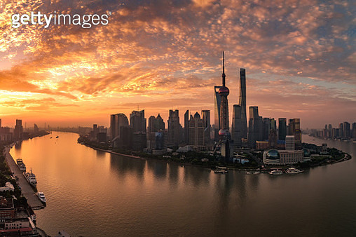 Aerial photography on the Bund photographing the beautiful sunrise skyline - gettyimageskorea