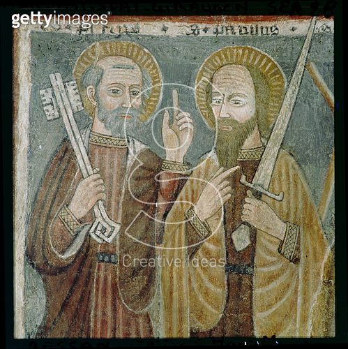 <b>Title</b> : St. Peter and St. Paul (fresco)<br><b>Medium</b> : <br><b>Location</b> : Chiesa di Santa Maria Maddalena, Gressan, Italy<br> - gettyimageskorea