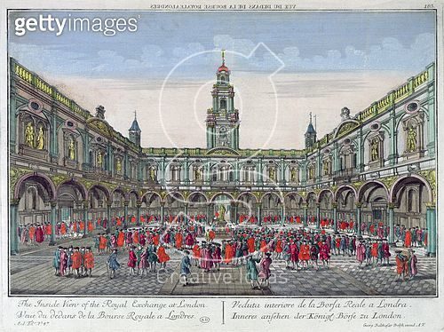 <b>Title</b> : The Inside View of the Royal Exchange, London (coloured engraving)<br><b>Medium</b> : coloured engraving<br><b>Location</b> : Bibliotheque des Arts Decoratifs, Paris, France<br> - gettyimageskorea