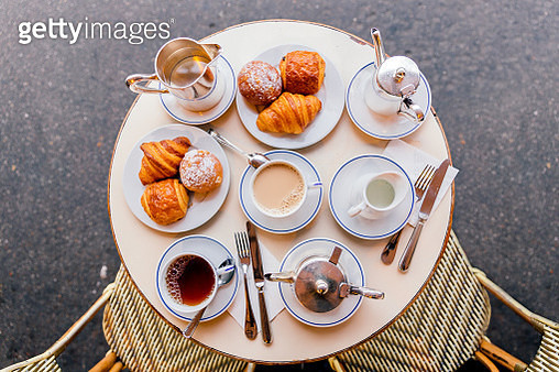 Fresh croissants, coffee and tea in French cafe, Paris, France - gettyimageskorea