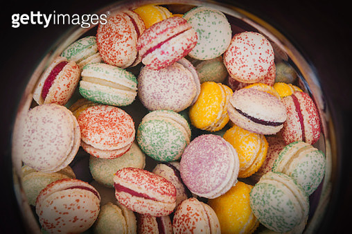 High Angle View Of Multi Colored Macaroon In Plate - gettyimageskorea