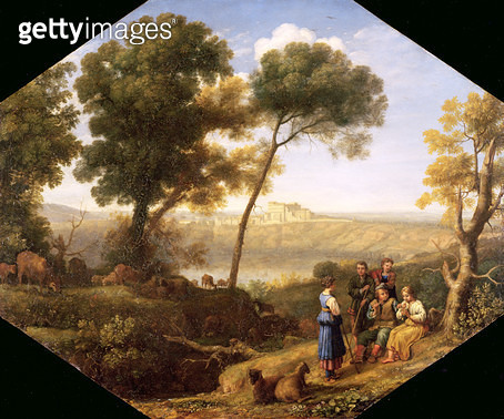 <b>Title</b> : Pastoral landscape with a view of Lake Albano and Castel Gondolfo, 1639 (oil on tin)<br><b>Medium</b> : oil on tin<br><b>Location</b> : Fitzwilliam Museum, University of Cambridge, UK<br> - gettyimageskorea