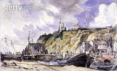 <b>Title</b> : The Harbour, Folkestone, 1833, (w/c and pencil on paper)<br><b>Medium</b> : watercolour and pencil on paper<br><b>Location</b> : Fitzwilliam Museum, University of Cambridge, UK<br> - gettyimageskorea