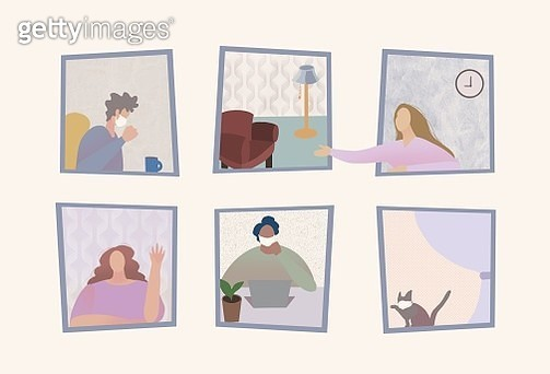 self isolation, social distance, work at home, window, confidence, coronavirus, covid-19, medical facemask, isolation - gettyimageskorea