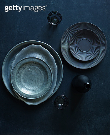 Overhead Still Life of Dark Vintage Dishes - gettyimageskorea