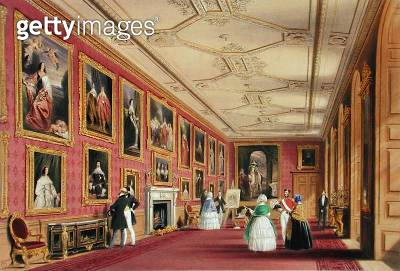 <b>Title</b> : The Vandyke Room, Windsor Castle, 1838 (chromolitho)Additional Infohung with royal portraits by Sir Anthony van Dyck (1599-1641)<br><b>Medium</b> : chromolithograph<br><b>Location</b> : Private Collection<br> - gettyimageskorea