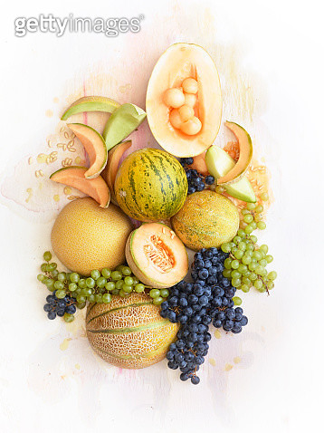 Sill Life of Fresh Melons and Grapes - gettyimageskorea