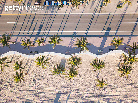 Fort Lauderdale Beach at sunrise from drone point of view - gettyimageskorea