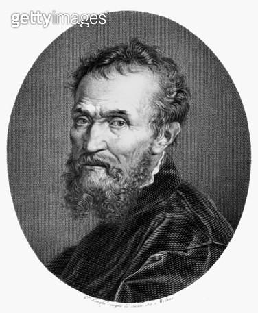 MICHELANGELO (1475-1564). /nItalian sculptor, painter, architect, and poet. Line engraving, Italian, 1815. - gettyimageskorea