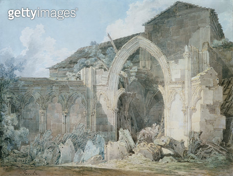 <b>Title</b> : Glastonbury Abbey (w/c)<br><b>Medium</b> : pencil and watercolour on paper<br><b>Location</b> : Private Collection<br> - gettyimageskorea