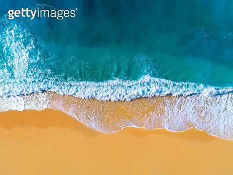 Aerial view of clear turquoise sea and waves - gettyimageskorea