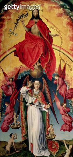<b>Title</b> : St. Michael Weighing the Souls, from the Last Judgement, c.1445-50 (oil on panel) (see 20546)<br><b>Medium</b> : <br><b>Location</b> : Hotel Dieu, Beaune, France<br> - gettyimageskorea