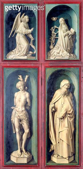 <b>Title</b> : The Annunciation, St. Sebastian and St. Anthony the Great, panels from the reverse of the Last Judgement, c.1445-50 (oil on pane<br><b>Medium</b> : oil on panel<br><b>Location</b> : Hotel Dieu, Beaune, France<br> - gettyimageskorea