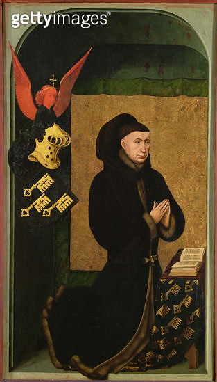 <b>Title</b> : The Donor, Chancellor Nicholas Rolin, Kneeling in Prayer, from the reverse of the Last Judgement polyptych, c.1445-50 (oil on panel) (see 20546, 170074 and 170079)<br><b>Medium</b> : oil on panel<br><b>Location</b> : Hotel Dieu, Beaune, Fra - gettyimageskorea