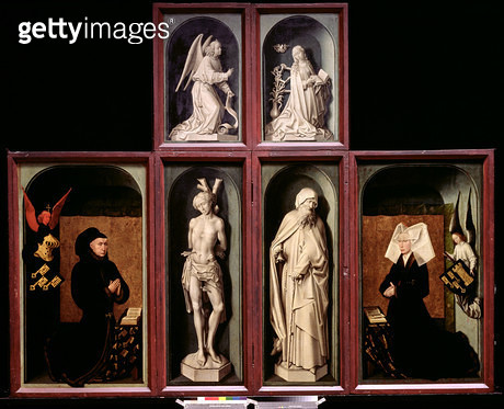 <b>Title</b> : The Last Judgement when closed, depicting the donors Chancellor Nicholas Rolin and his Wife, Guigone de Salins, The Annunciation<br><b>Medium</b> : <br><b>Location</b> : Hotel Dieu, Beaune, France<br> - gettyimageskorea