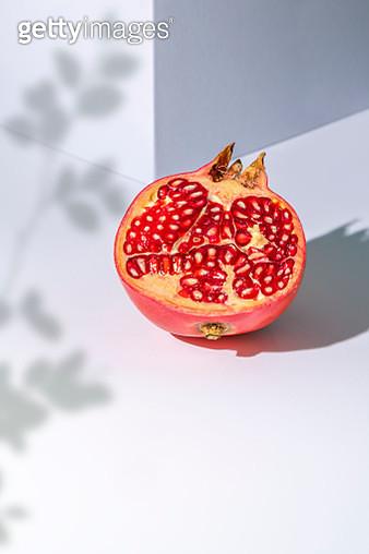 Pomegranate Slice On White Background - gettyimageskorea