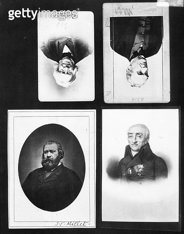 <b>Title</b> : Four portraits including Jean-Francois Millet (1815-75) (b/w photo)Additional Infoportrait en buste du peintre Jean Francois Mil<br><b>Medium</b> : black and white photograph<br><b>Location</b> : Archives Larousse, Paris, France<br> - gettyimageskorea