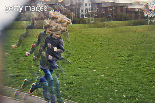 Distorted view of child running - gettyimageskorea