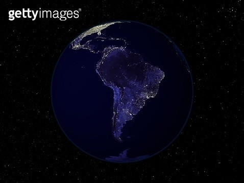Fully dark image of Earth at night centered on South America showing city lights. - gettyimageskorea